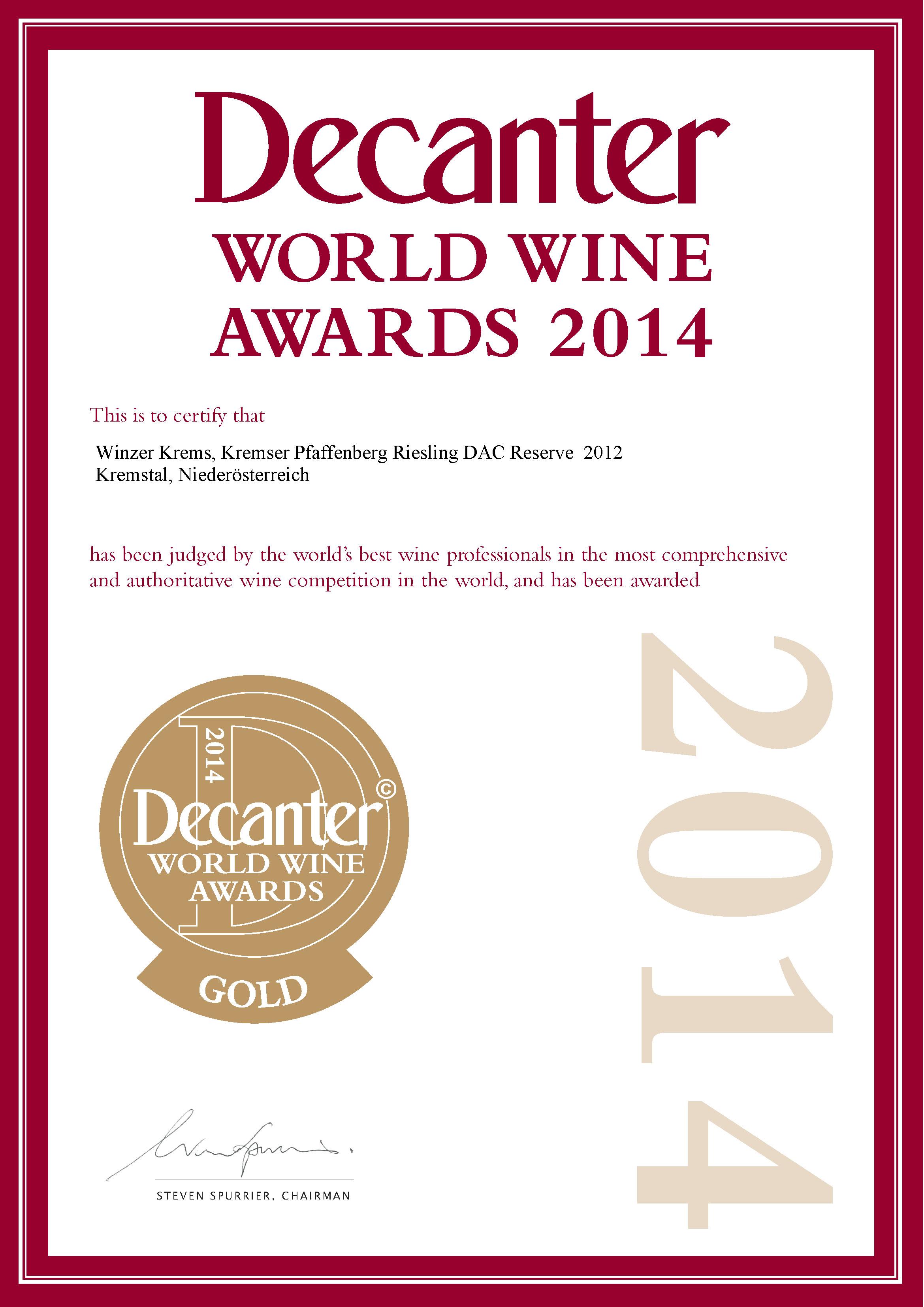 """Mai 2014: Goldmedaille beim """"DECANTER World Wine Award 2014"""" (Großbritannien) für Jahrgang 2012"""