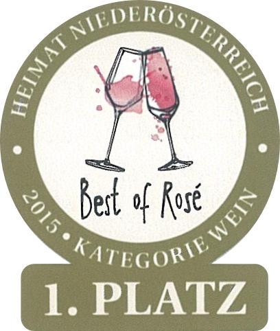 """Juni 2015: 1. Platz """"Best of Rosé in Niederösterreich"""" für Jahrgang 2014"""