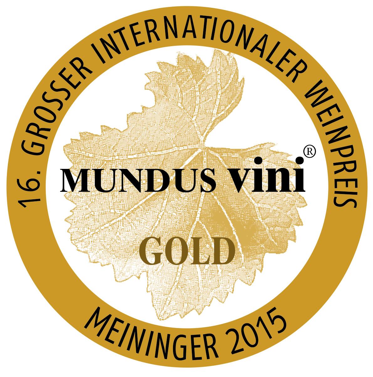 """March 2015: gold medal at the MUNDUS vini """"spring tasting"""" for vintage 2013"""