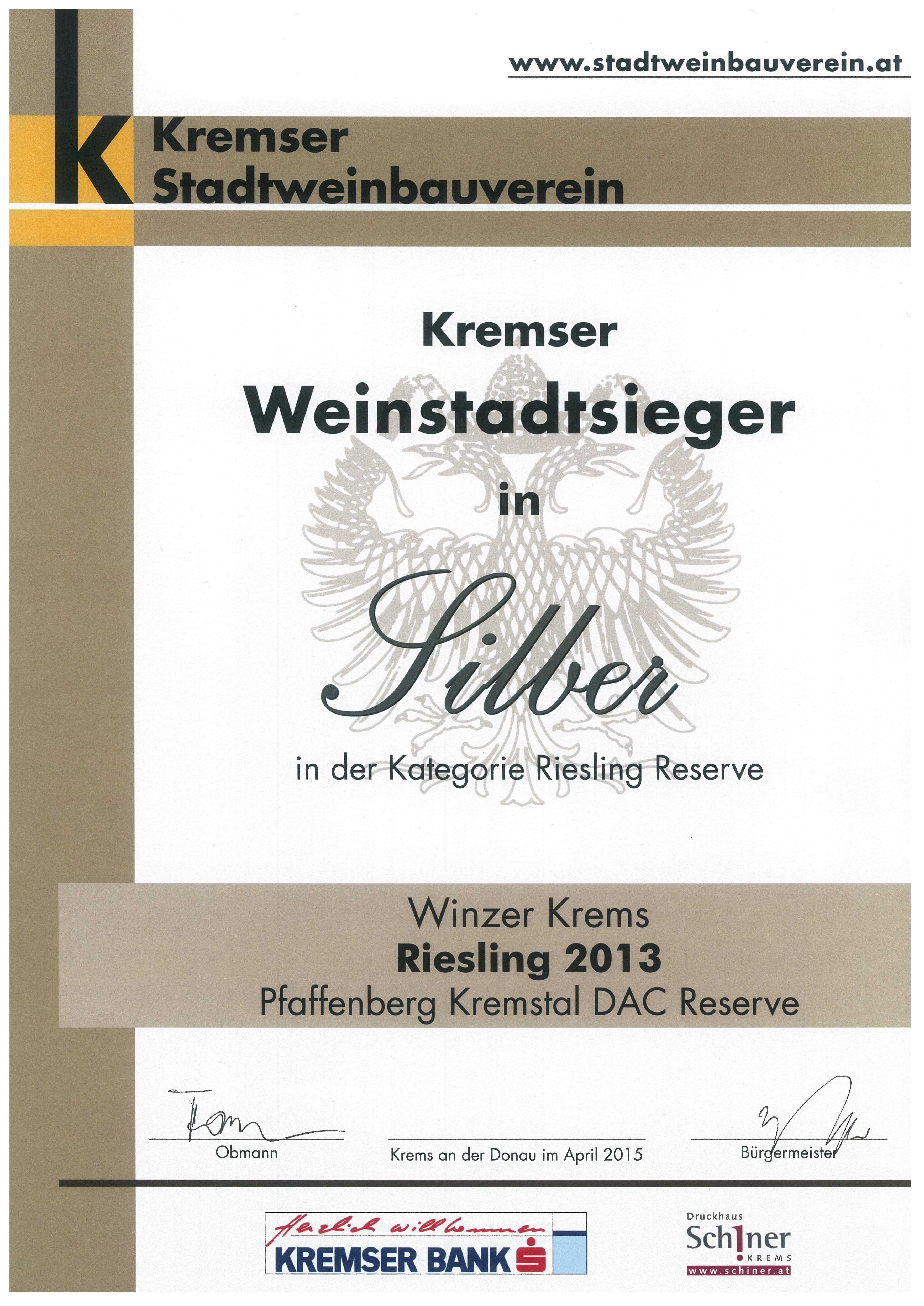 April 2015: Kremser Weinstadtsieger in Silber für Jahrgang 2013