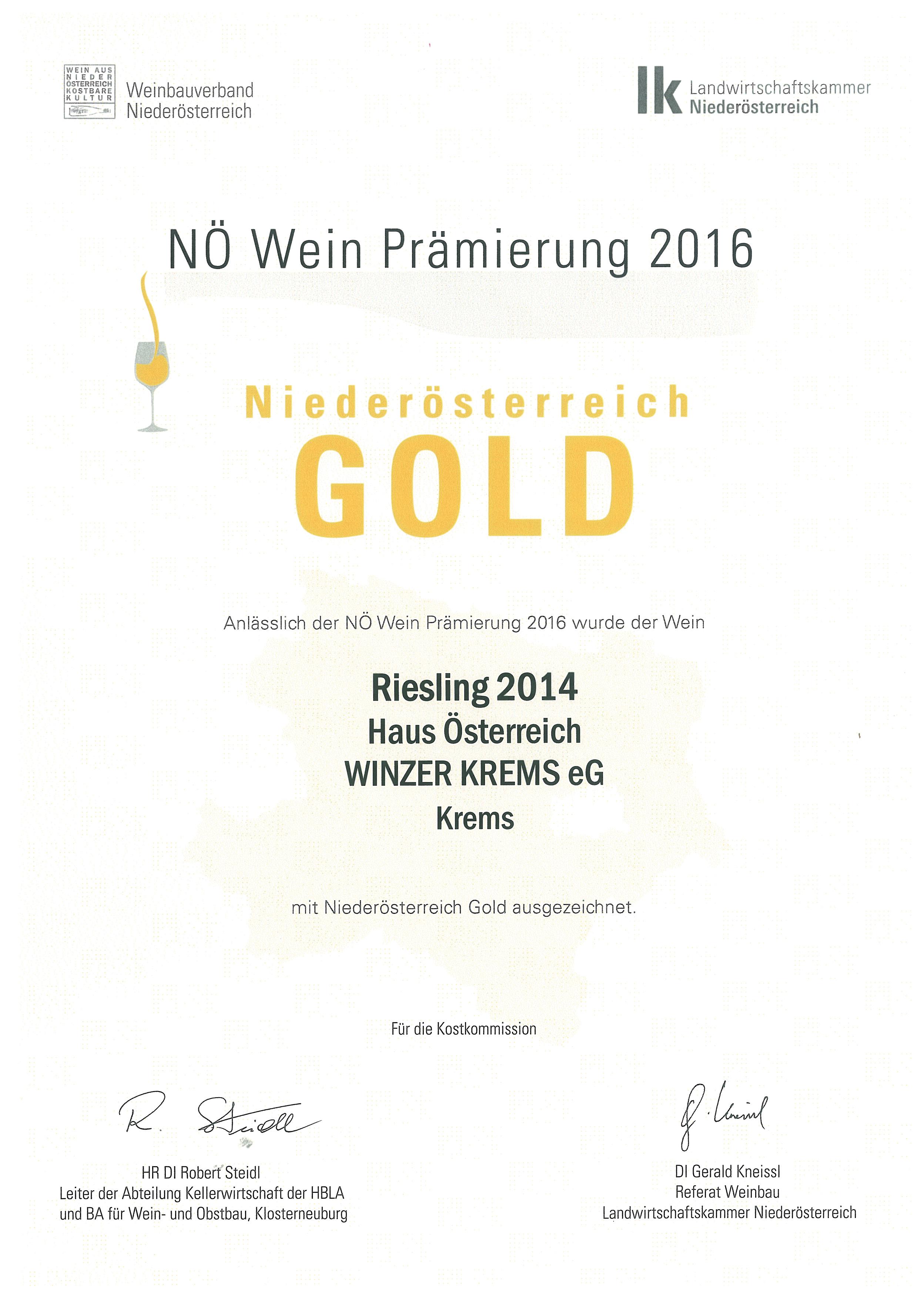 """Mai 2016: Gold bei der Bewertung """"NÖ Wein 2016"""""""