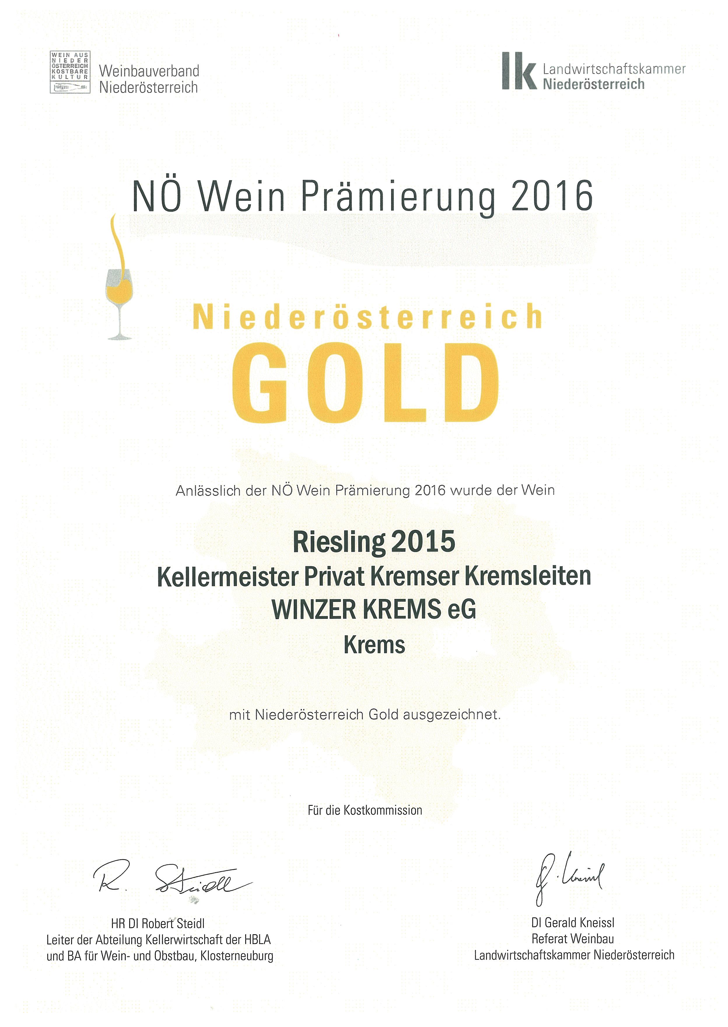 """Mai 2016: Gold bei der Bewertung """"NÖ Wein 2016"""" für Jahrgang 2015"""