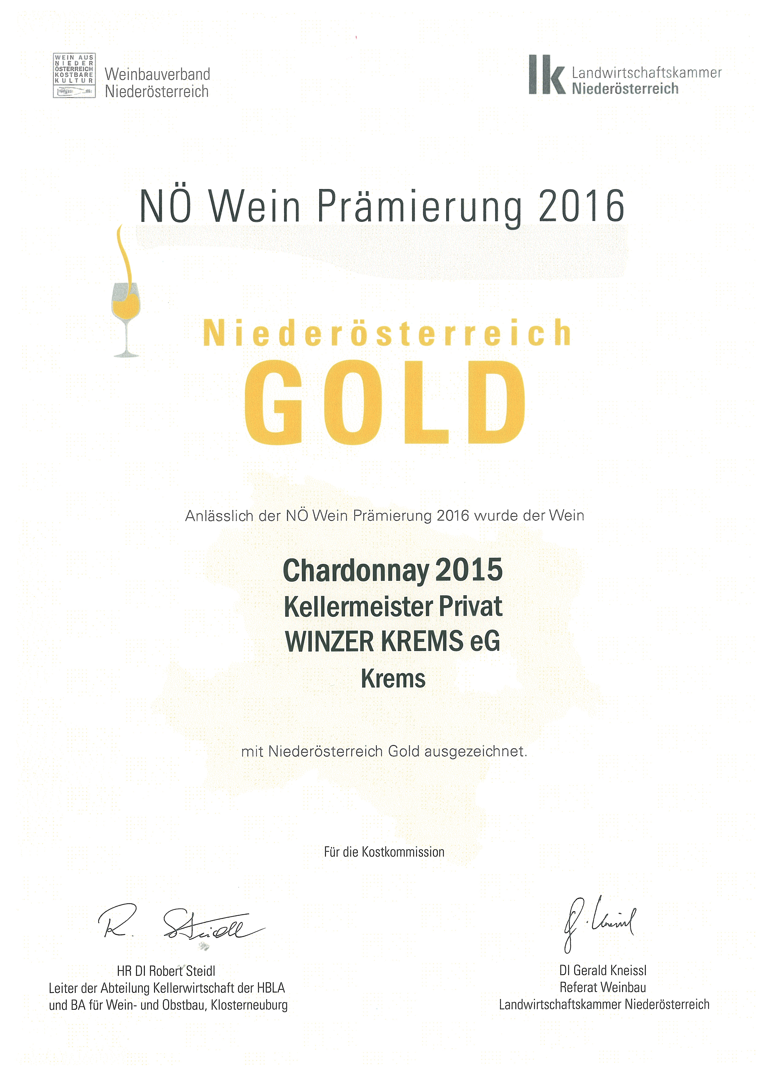 """May 2016: gold medal at the tasting """"NÖ Wein 2016"""" for vintage 2015"""