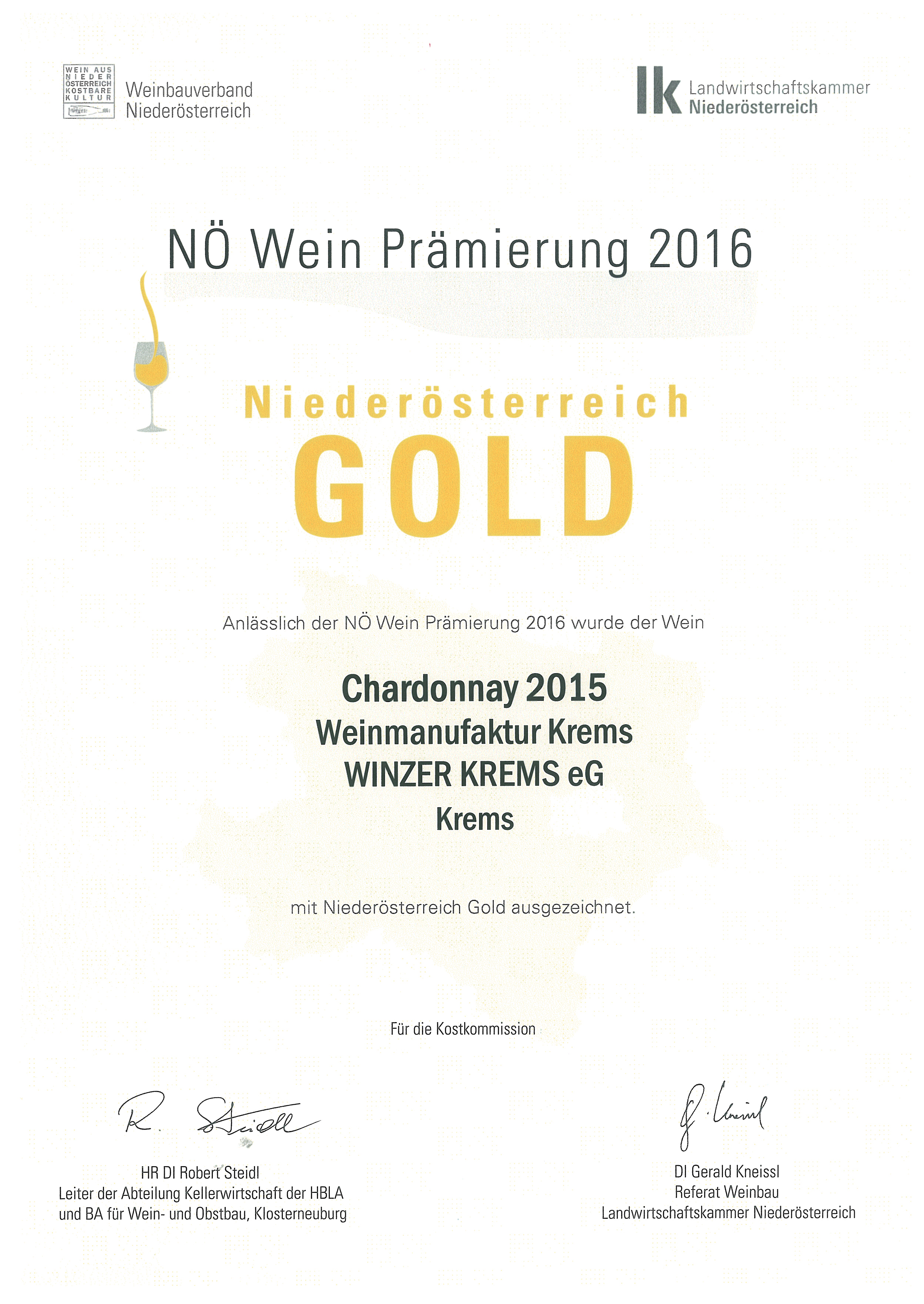 "May 2016: gold medal at the tasting ""NÖ Wein 2016"" for vintage 2015"