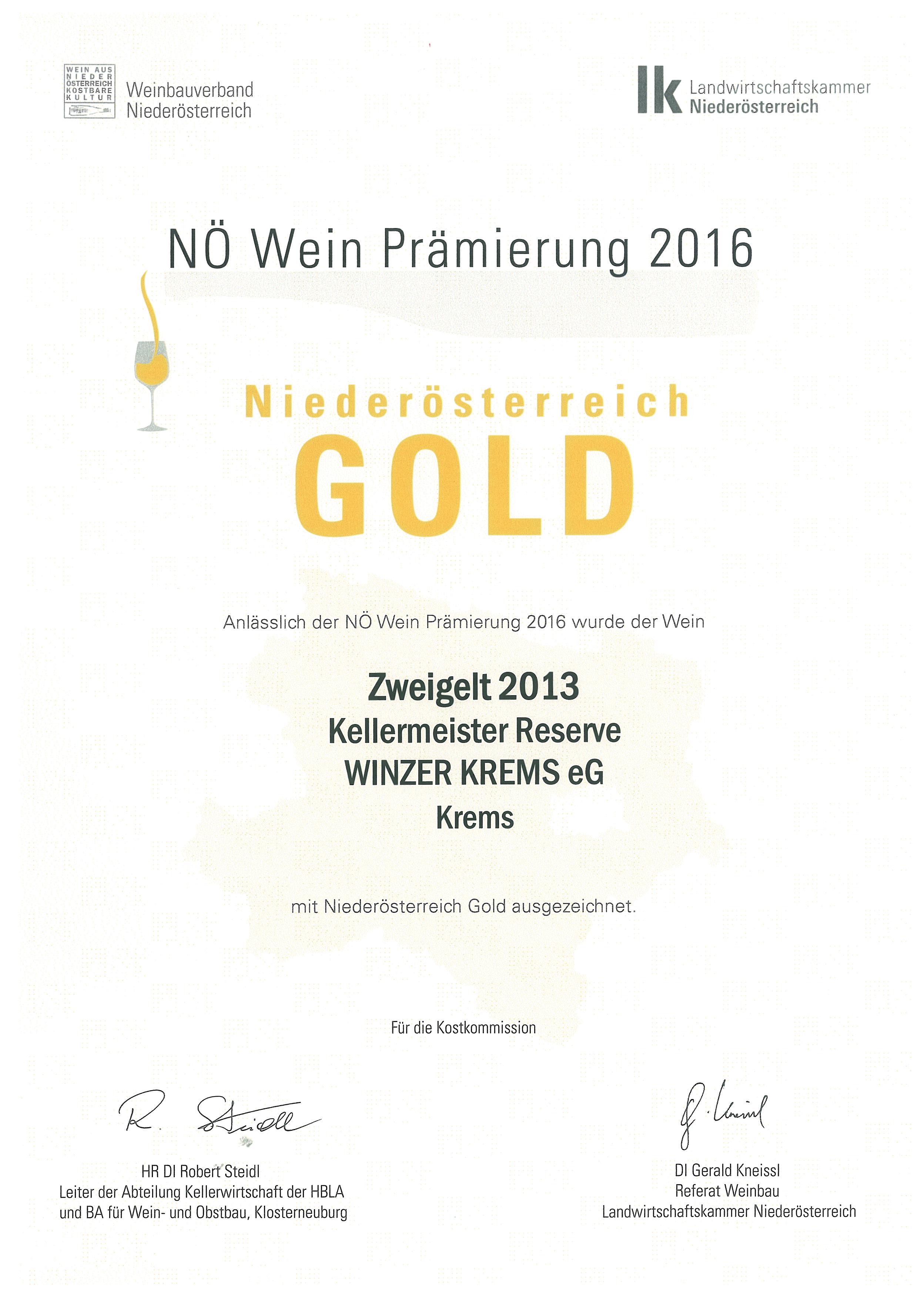"""Mai 2016: Gold bei der Bewertung """"NÖ Wein 2016"""" für Jahrgang 2013"""