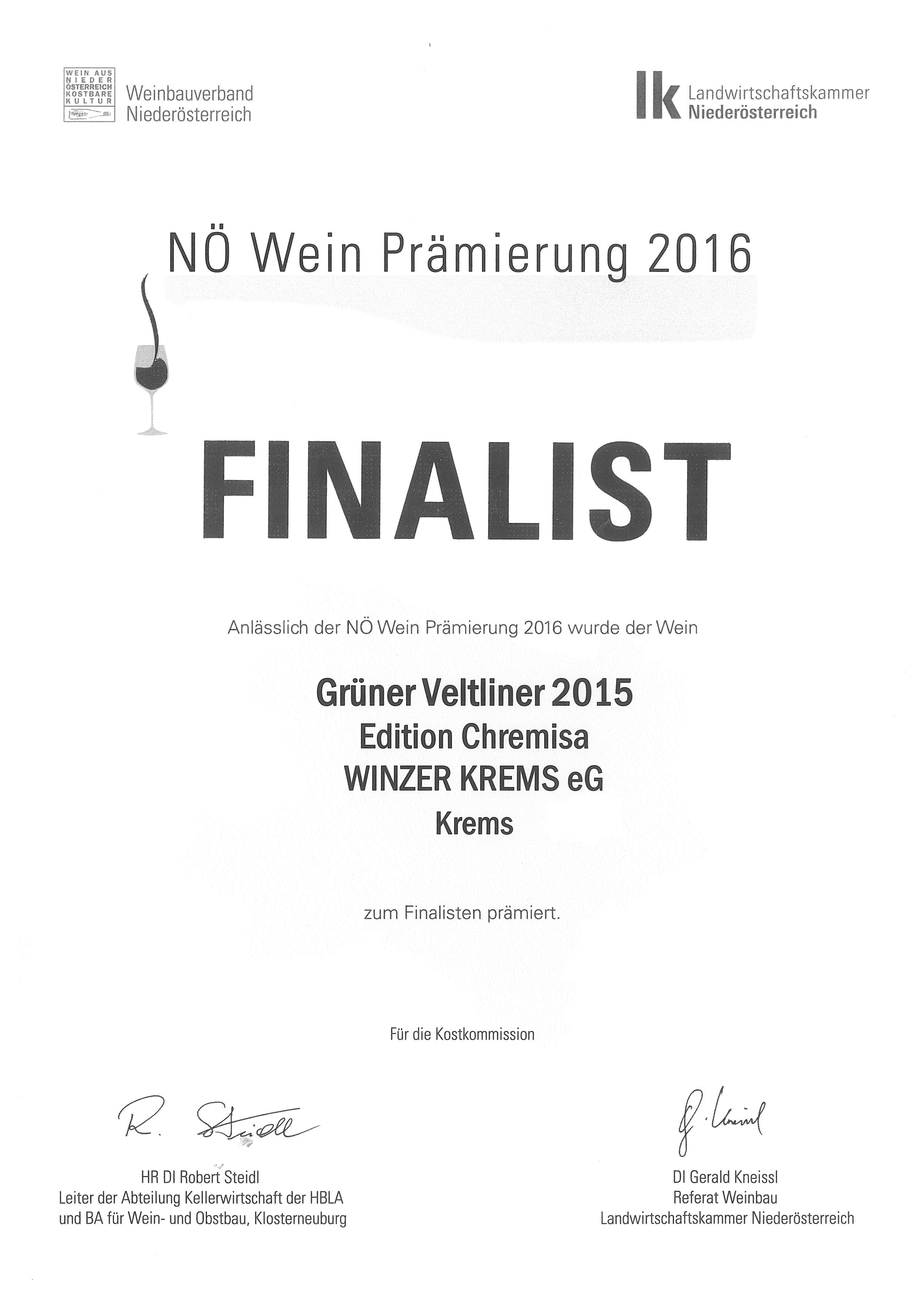 """Mai 2016: Landessieger-Finalist bei der Bewertung """"NÖ Wein 2016"""" für Jahrgang 2015"""