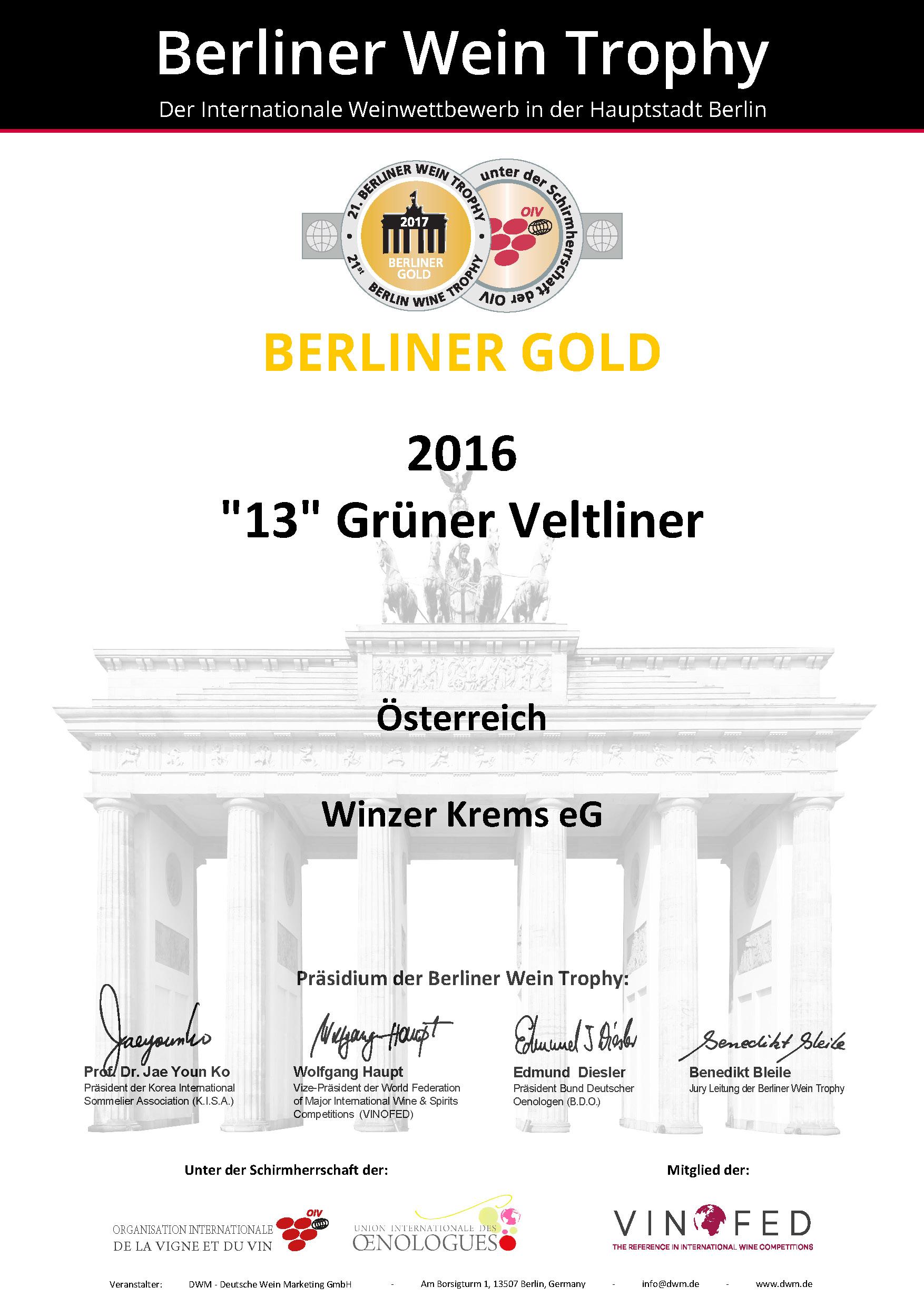 Februar 2017: Berliner Gold bei der Berliner Wine Trophy 2017