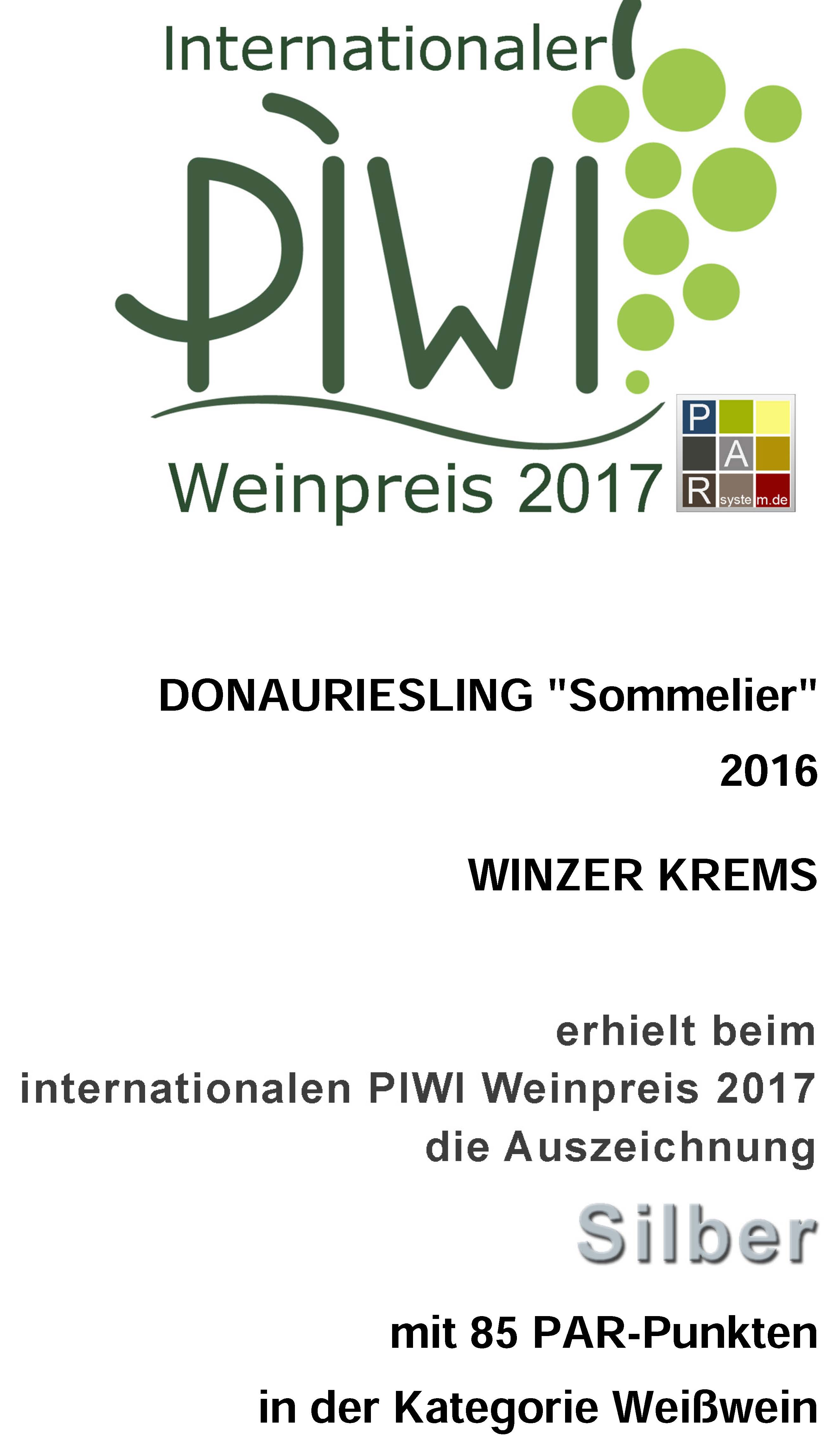 "October 2017: 85 points & silver medal for vintage 2016 at the ""Int. PIWI Weinpreis"" / Germany"