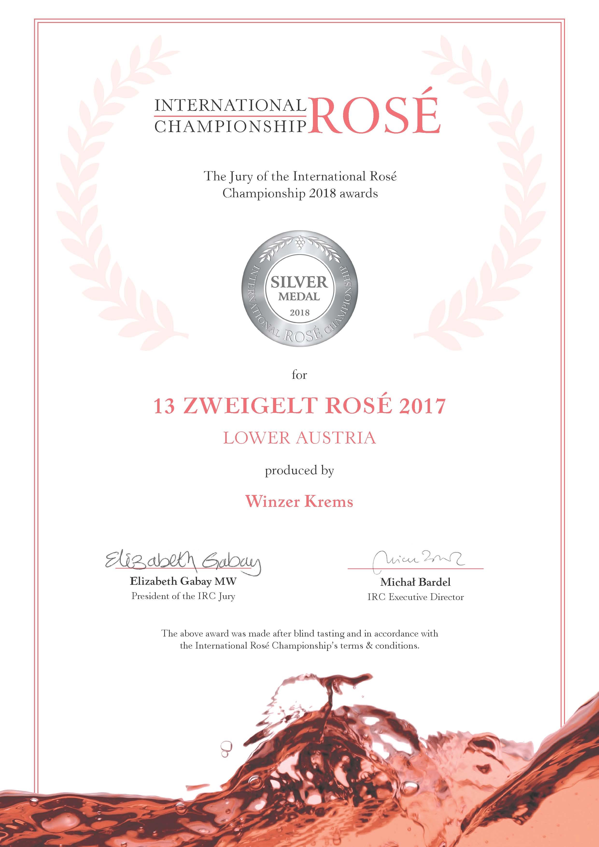April 2018: Silbermedaille bei der International Rosé Championship 2018 für Jahrgang 2017