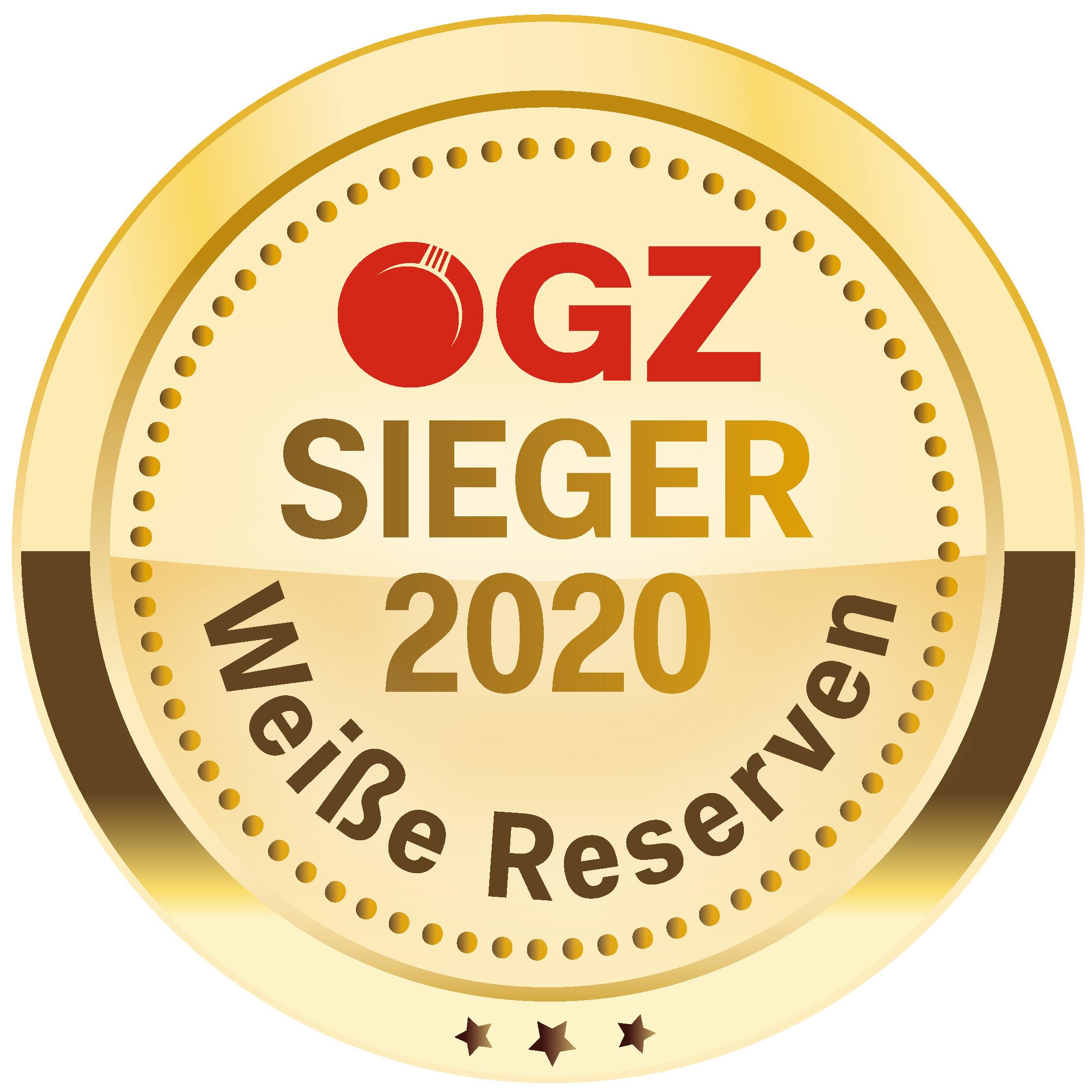 """Oktober 2020: SIEGER in der ÖGZ-Verkostung """"Weiße Reserven"""" - Jahrgang 2019"""